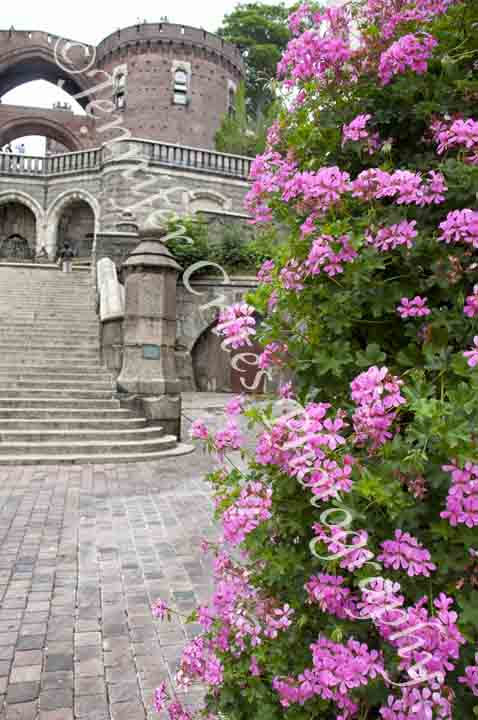 Helsingborg, Sweden, castle keep framed by flowers