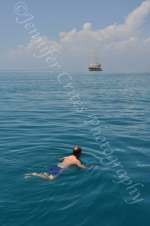 man swimming in Mediterranean