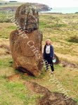kneeling moai (one of the oldest on the island) and me