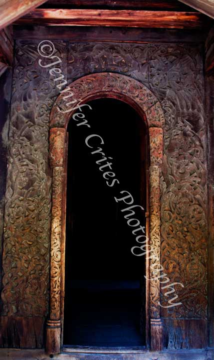 carved doorway, stave church