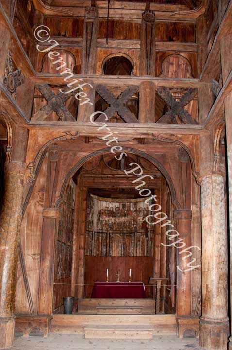 stave church interior, Oslo, Norway