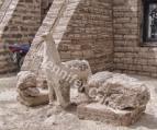 Salt Llama and building made of salt bricks