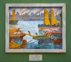 Outside wall art recreates La Boca's shipbuilding origins