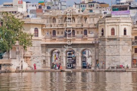 activity at a city ghat (steps) on the shores of Lake Pichola, Udaipur