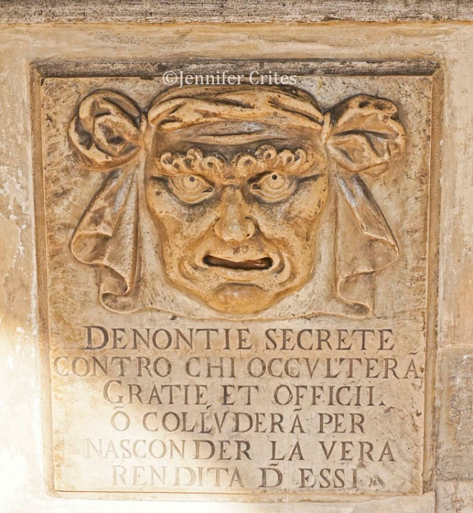 Suggestion (gossip) box in the Doge's Palace. Letters go in the mouth