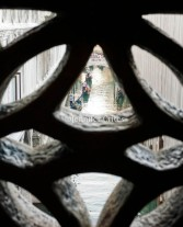 Looking through the window openings in the Bridge of Sighs