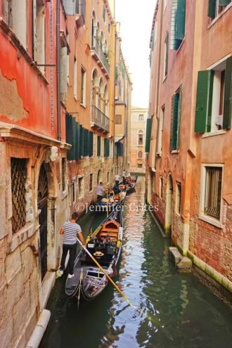 Gondolas in a narrow canal