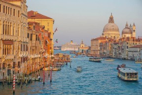 A view of the Grand Canal (and a cruise ship in the lagoon) from Accademia Bridge